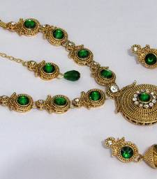 Buy Golden green round stone necklace set necklace-set online