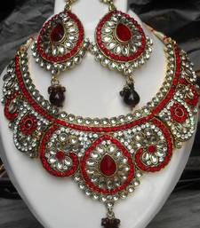 Buy Maroon white zircon kundan set necklace-set online