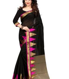 Buy Black and Pink plain cotton saree With Blouse cotton-saree online