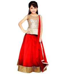 Buy red jacquard kids lehenga choli kids-lehenga-choli online