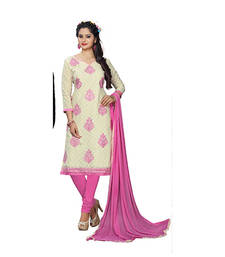 Buy Off-white embroidered jacquard and cotton unstitched salwar with dupatta dress-material online