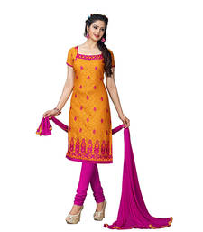 Buy Yellow embroidered jacquard and cotton unstitched salwar with dupatta dress-material online