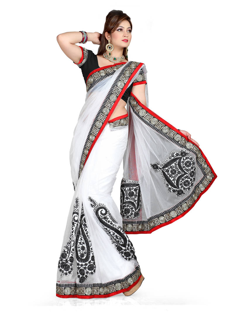 Buy white embroidered shimmer saree with blouse online