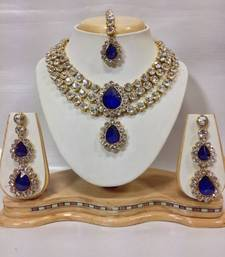 Buy Three Chain Kundan Jewelry Set in Royal Blue necklace-set online