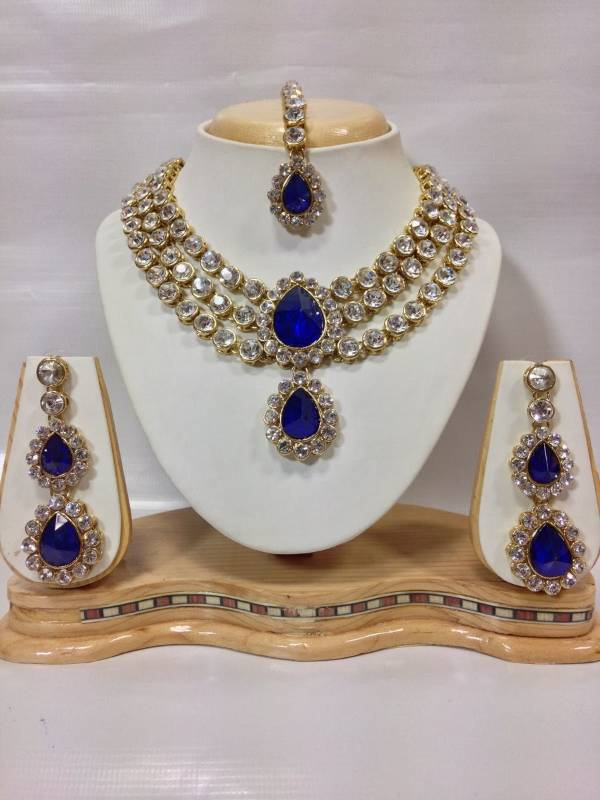Buy Three Chain Crystal Necklace Set In Royal Blue Color