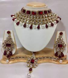 Buy Kundan Studded Jewelry Set in Maroon with Pearls necklace-set online