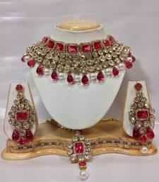Buy Kundan Studded Jewelry Set in Pink with Pearls necklace-set online