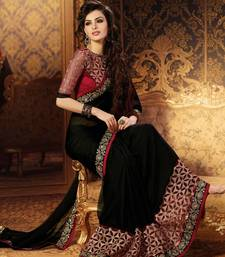 Buy black embroidered faux georgette saree With Blouse designer-embroidered-saree online