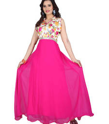Buy Pink georgette printed semi stitiched party wear gowns party-wear-gown online