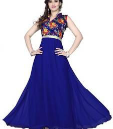 Buy Blue georgette printed semi stitiched party wear gowns party-wear-gown online