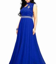 Buy Blue georgette Plain semi stitiched party wear gowns party-wear-gown online