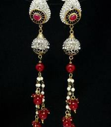 Buy Beautiful red beaded octane ear ring. danglers-drop online