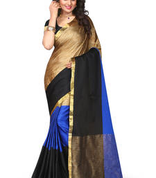 Buy Blue printed pure_art_silk_sarees saree With Blouse silk-saree online