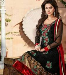 Buy Black Designer Anarkali Suit with hints of maroon anarkali-salwar-kameez online
