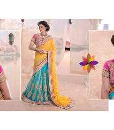 Buy Yellow and cyan embroidered georgette saree with blouse lehenga-saree online