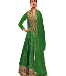 Buy Green art silk embroidered semi stitiched salwar with dupatta collar-neck-design online