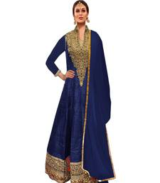 Buy Blue silk embroidered semi stitiched salwar with dupatta collar-neck-design online