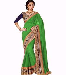 Buy green embroidered faux_georgette saree With Blouse designer-embroidered-saree online