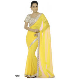 Buy yellow embroidered faux_chiffon saree With Blouse designer-embroidered-saree online