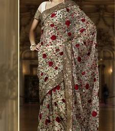 Buy Off White Net With Antique Secquence Work Designer Saree 618-A net-saree online