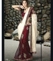 Buy Maroon With Off White Brasso Lehanga Saree 1216 brasso-saree online
