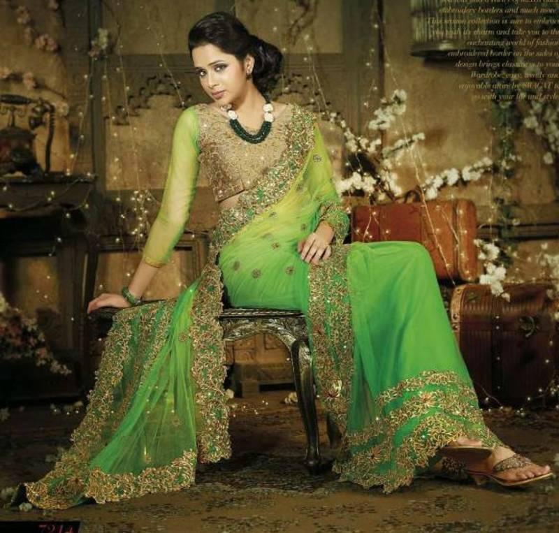 Buy Green Net With Zari With Stone Work Designer Sarees