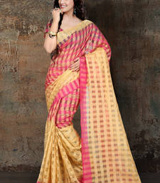 Buy pink printed cotton silk saree With Blouse ethnic-saree online