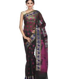 Buy black woven super net saree With Blouse banarasi-saree online