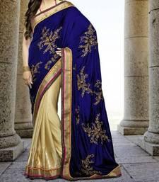 Buy Satin With Blue Valvet Karishma Kapoor Sarees 5057 velvet-saree online