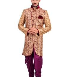 Buy natural jute with purple jute printed Jodhpuri Sherwani jodhpuri-sherwani online