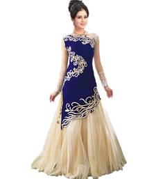 Buy Blue velvet embroidered semi stitched gown party-wear-gown online