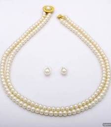Buy SIMPLE & SOBER DOUBLE STRING SHELL PEARLS SET FROM HYDERABAD - PCN1012 necklace-set online