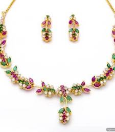 Buy LILY NECKLACE SET WITH EARRINGS (AD RUBY EMRALD) - PCN1057 Necklace online