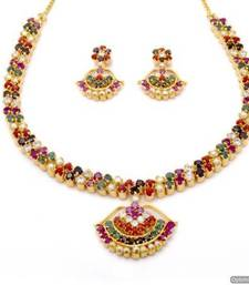 Buy BELL NECKLACE SET WITH EARRINGS (NAVRATNA) - PCN1066 Necklace online