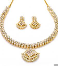 Buy BELL NECKLACE SET WITH EARRINGS (AD) - PCN1067 Necklace online