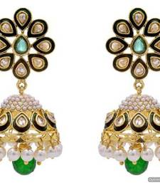 Buy ANTIQUE GOLDEN STONE STUDDED POLKI MEENA WORK PEARL JHUMKA EARRINGS/HANGINGS (GREEN)  - PCAE2220 jhumka online