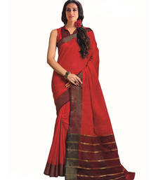 Buy Red printed pure cotton silk saree With Blouse party-wear-saree online