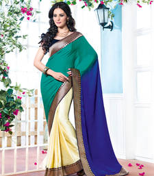 Buy Vishal Georgette Green+Cream+Blue Saree Tropical Bloom 31611A party-wear-saree online