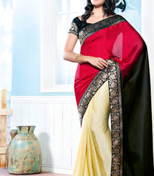 Buy Vishal Georgette Cream+Maroon+Black Saree Tropical Bloom 31611B party-wear-saree online