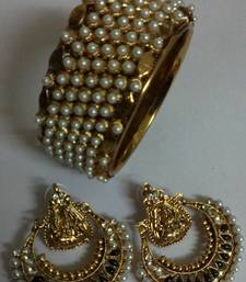 Traditional Pearl Bangle with Ram Leela Earings shop online