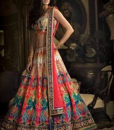 Buy multicolor digital print and embroidered lace work art_silk unstitched lehenga-choli lehenga-below-2000 online