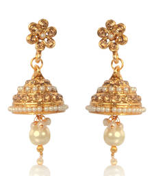 Buy Beautiful Jhumka Earrings with White Pearls, Droplets and Beads ABARI00EB006  jhumka online