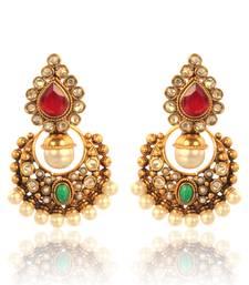 Buy Classic Red Green Polki  Earring  v2mg DDS 5 danglers-drop online