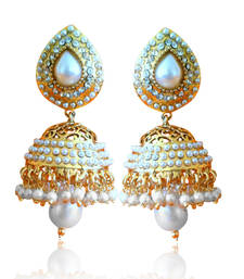 Buy Ethnic Pearl Jhumka Earrings with White Stones by ADIVA ABSAT0CB0102 TDS 12 jhumka online