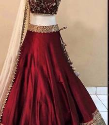 Buy Maroon embroidered banglori silk unstitched lehenga choli lehenga-choli online