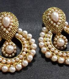 white pearl polki earrings shop online