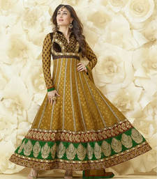 Buy Kareena Kapoor gold color viscose butta semi stitched embroidery anarkali suit wedding-salwar-kameez online