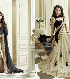 Buy Black and white embroidered georgette and net saree With Blouse party-wear-saree online