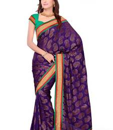 Buy Purple Sober Pure Vicose Saree with Unstitched Blouse viscose-saree online