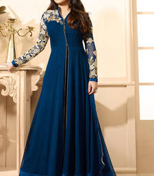 Buy Blue Georgette embroidered unstitched salwar with dupatta anarkali-salwar-kameez online